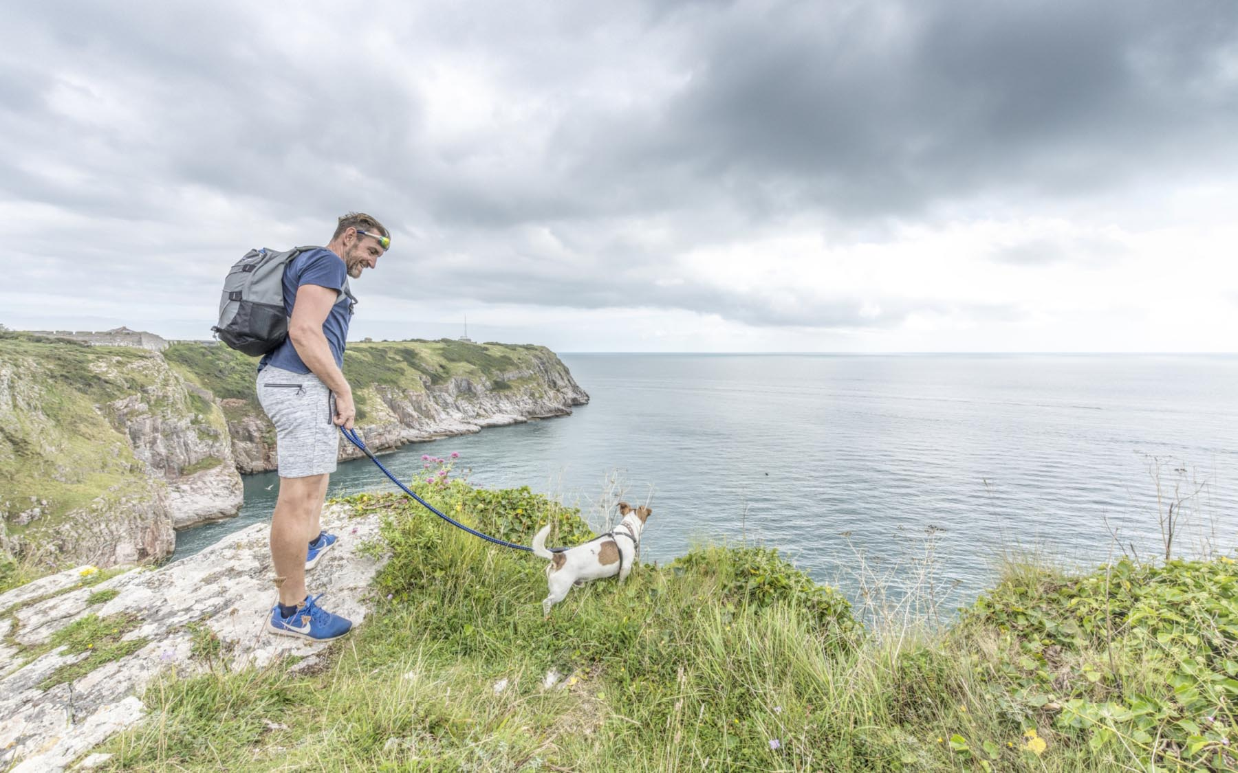 Berry Head man with dog